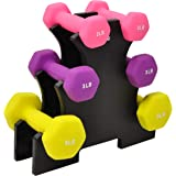 Sporzon! Neoprene Coated Dumbbell Set with Stand, 3 Pairs Dumbbells and Stand Included