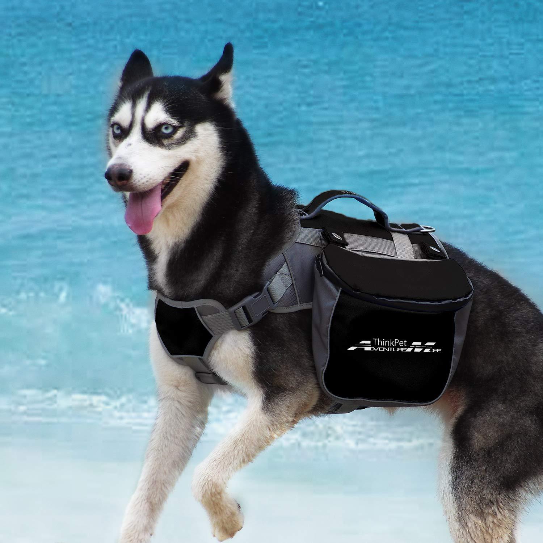 ThinkPet Outdoor Dog Backpack Reflective Saddle Bag - Dog Pack Double Bag for Hound Travel Rucksack for Medium Large Dogs