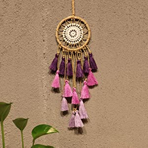 Artilady Small Dream Catcher for Cars - Bohemian Mini Dream Catchers for Cars Rear View Mirror Hanging Decoration (Purple)