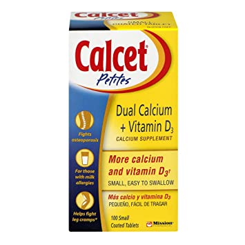 Calcet Petites Dual Calcium + Vitamin D3 Tablets 100 Tablets (Pack of 6)