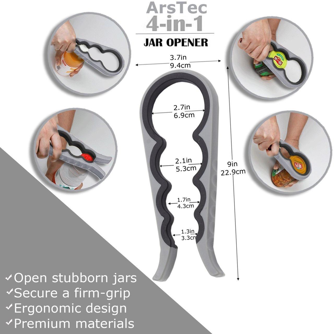 Arstec Jar Bottle Opener Non Slip Jar Gripper Pad - Rubber Jar Can Lid Opener for Weak, Senior, Arthritis Hands (Gray) by ArsTec (Image #2)
