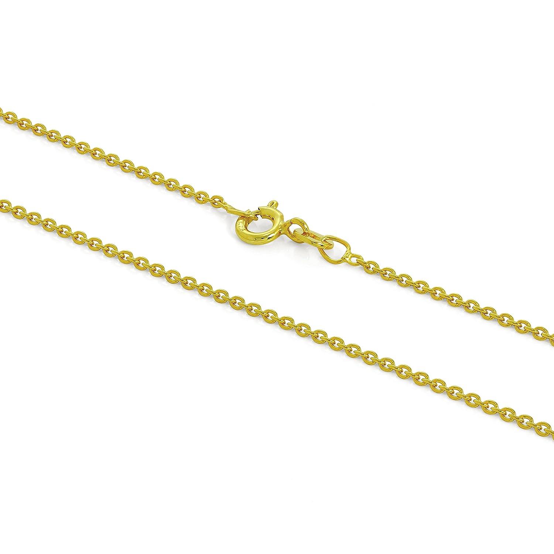 Chaîne Mailles Jaseron 1mm en Argent Plaqué Or Jaune 9 Carats - 41 à 61cm jewellerybox HAR-1626