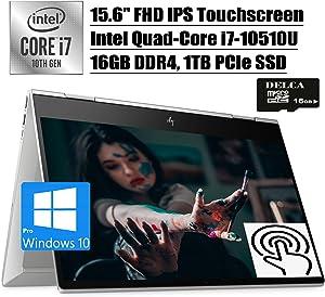 "HP Envy x360 2020 Premium 2 in 1 Laptop Computer I 15.6""FHD IPS Touchscreen I 10th Gen Intel Quad-Core i7-10510U I 16GB DDR4 1TB PCIe SSD I B&O Fingerprint Win 10 Pro + Delca 16GB Micro SD Card"