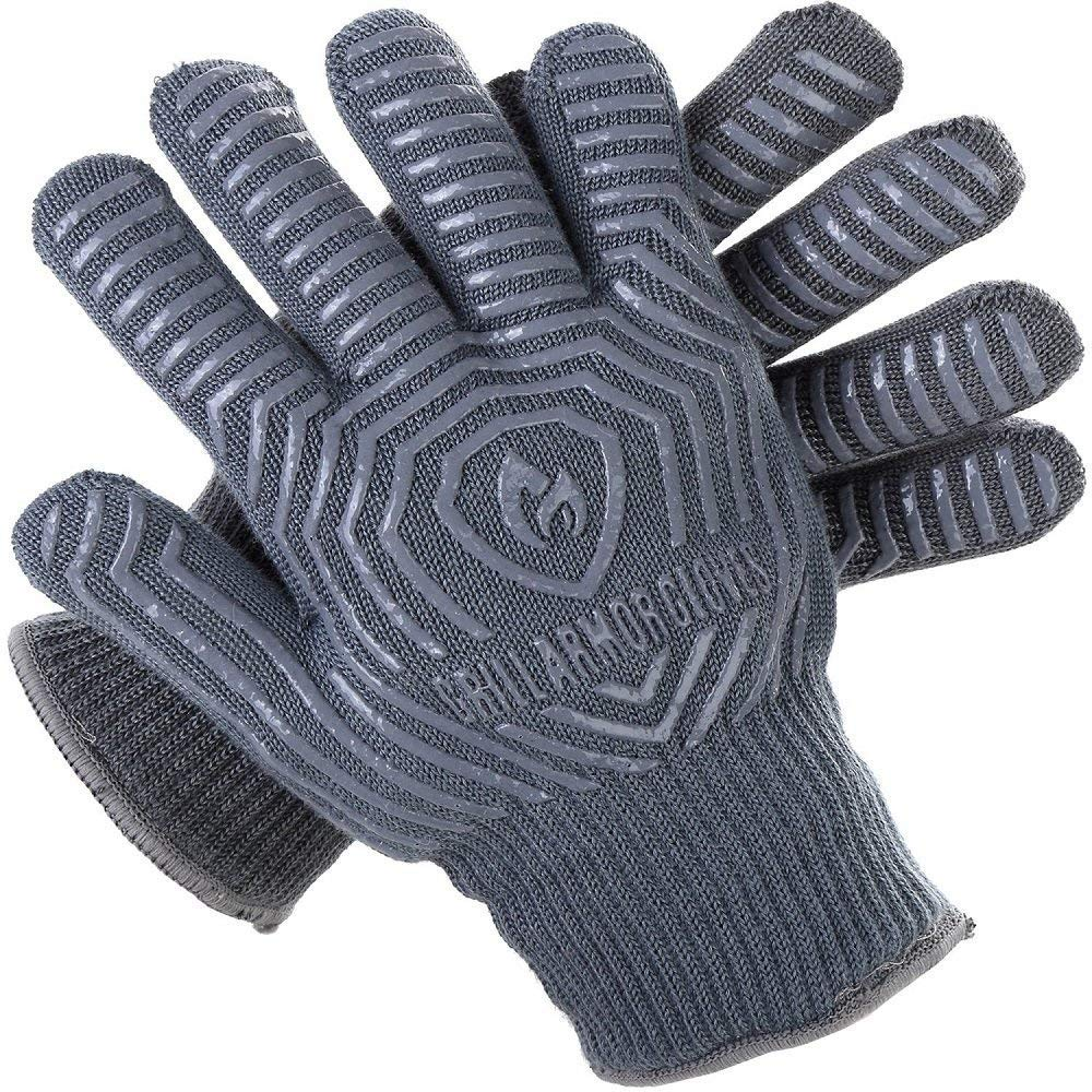 Grill Armor Extreme Heat Resistant Oven Gloves - EN407 Certified 500C - Cooking Gloves for BBQ, Grilling, Baking, Grey by Grill Armor Gloves