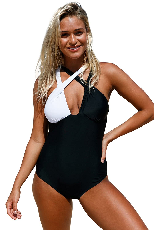 769356bd279 Mandybc Women White Black Criss Cross Strap Swimsuit One Piece Patchwork  Color Bathing Suit High Waist V Neck Beach Wear at Amazon Women s Clothing  store
