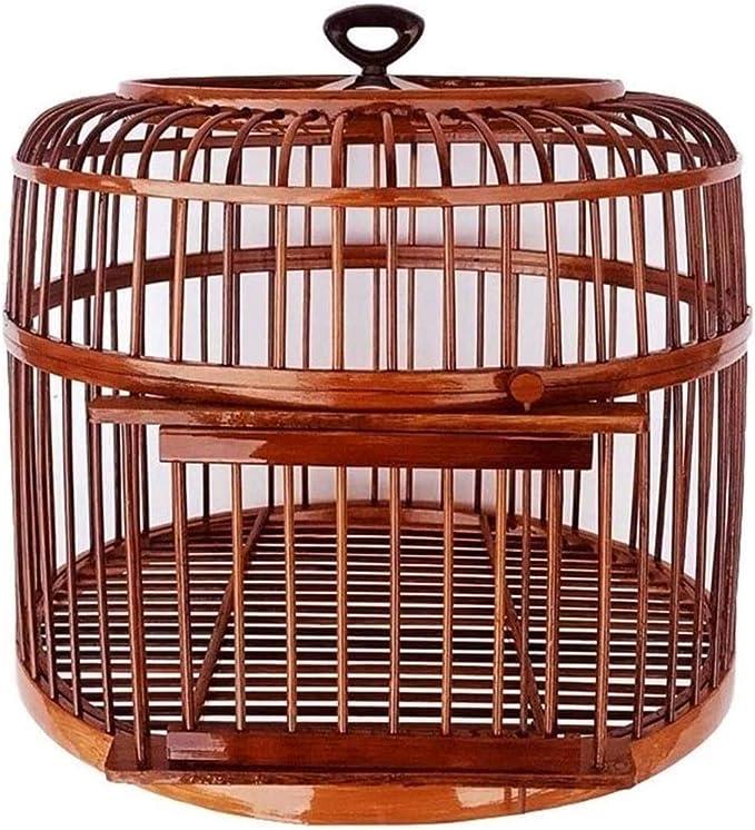 Jaula dpájaros duradera y ecológica, Jaula de pájaros Jaula de pájaros a pájaros Hecho a mano Loro Canario Jaula de pájaros Adecuado para la cría de aves Casa de mascotas (Color: Marrón) Jaula para pá