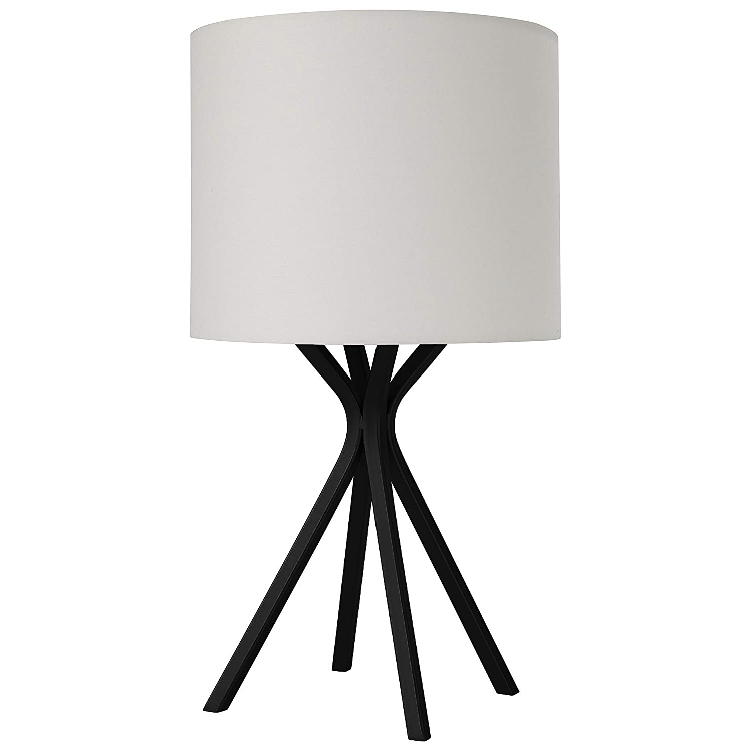 Rivet Matte Black Bedside Table Desk Lamp with Light Bulb - 18 Inches, Linen Shade
