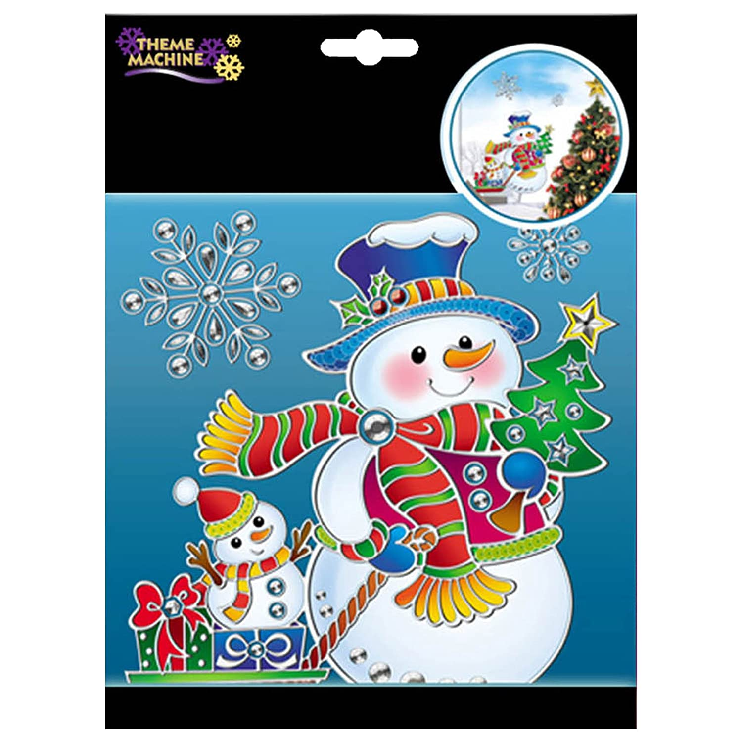 Cute Christmas Party SNOWMAN Suncatcher Plastic Window Clings Decorations Davies Products