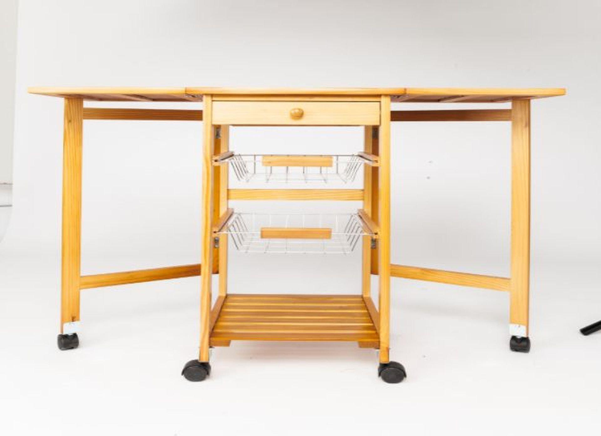 Soogo Portable Rolling Drop Leaf Kitchen Storage Trolley Cart Island Sapele Color