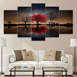 WOJUHAO 5 Pieces Canvas Wall Art, Red Home Wall Decor Red Tree Poster, Modern Canvas Posters for Living Room Bedroom Home Decor(no Frame) (Over Size 40inch x 20inch)