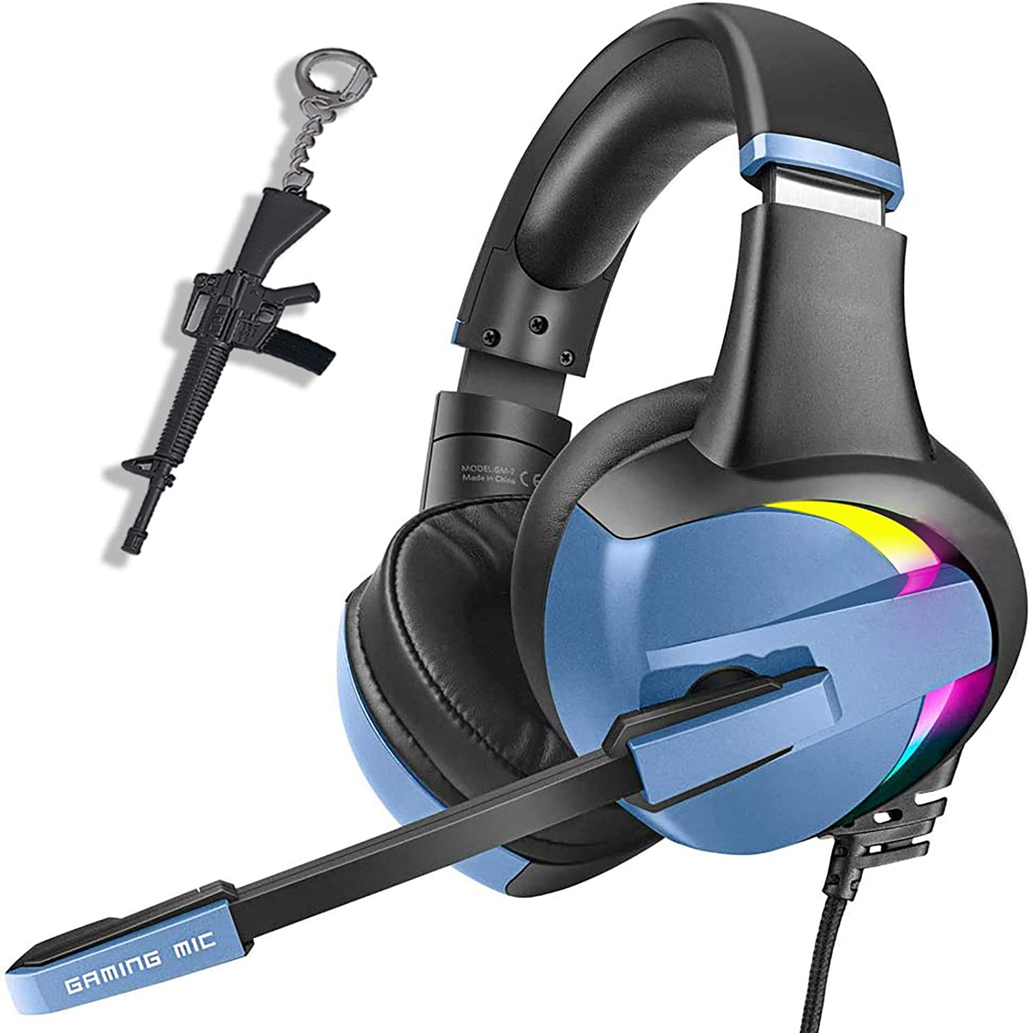 PS4 Gaming Headset Pro RGB Gaming Headphone for Xbox one PC with Mic Stereo Surround Over-Ear Headset 7 Colors Rainbow Light& Noise Cancelling for Laptop Tablet Mac Kids