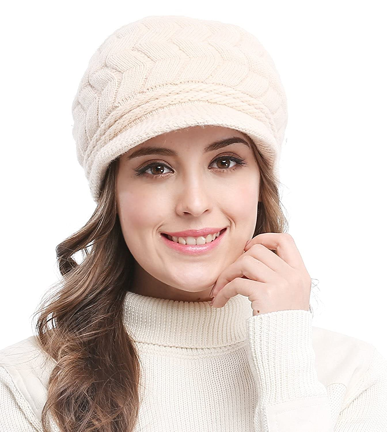 f37b824a5ff Bellady Women s Lady s Winter Knit Thick Warm Hats Beanie Hat Ski Caps with  Visor  Amazon.in  Clothing   Accessories