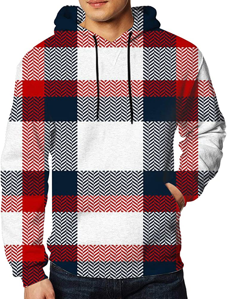 Men Sweatshirt Fashion Check Plaid Beauty 3D Digital Printing Funny Hoodie Pullover with Pockets S