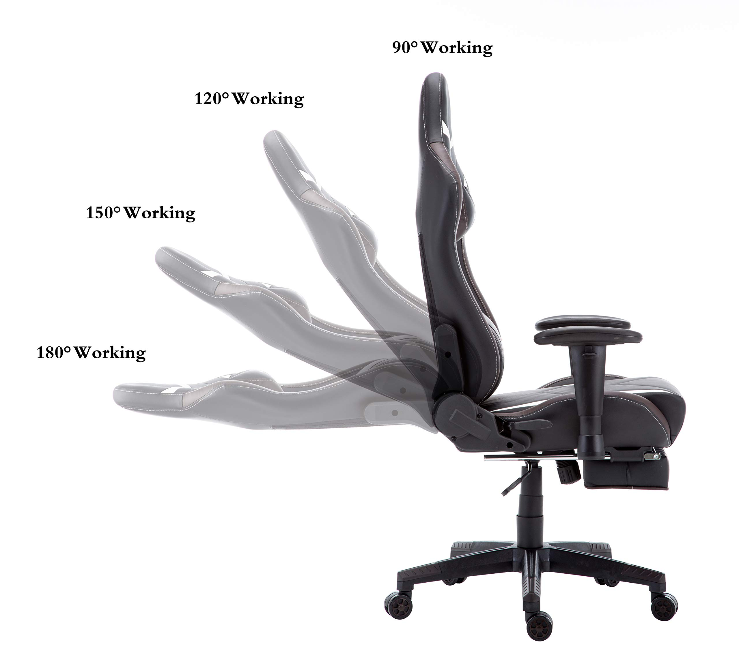 Morfan Gaming Chair Large Size Massage Function Ergonomic Racing Style PC Computer Office Chair with Retractable Footrest & Adjustable Lumbar and Headrest Pillows (Black/Brown) by MORFAN (Image #5)