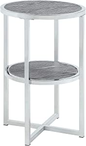 Abington Lane - Contemporary Round End Table - Employs a Fashionable Chrome Frame - Two Tiered for Storage - Perfect for Living Room or Office - (Heathered Grey Finish)