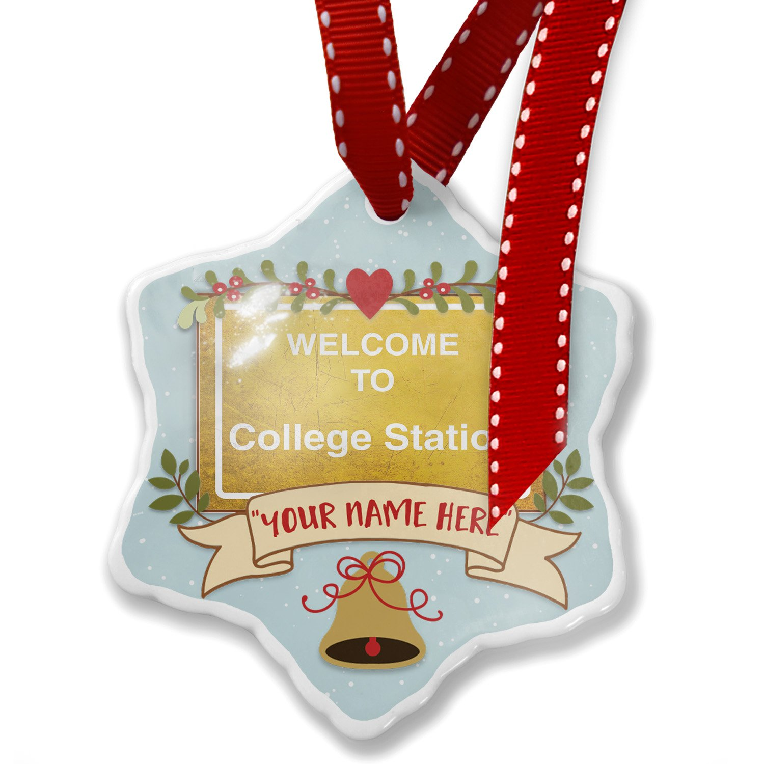 Add Your Own Custom Name, Yellow Road Sign Welcome To College Station Christmas Ornament NEONBLOND by NEONBLOND (Image #1)