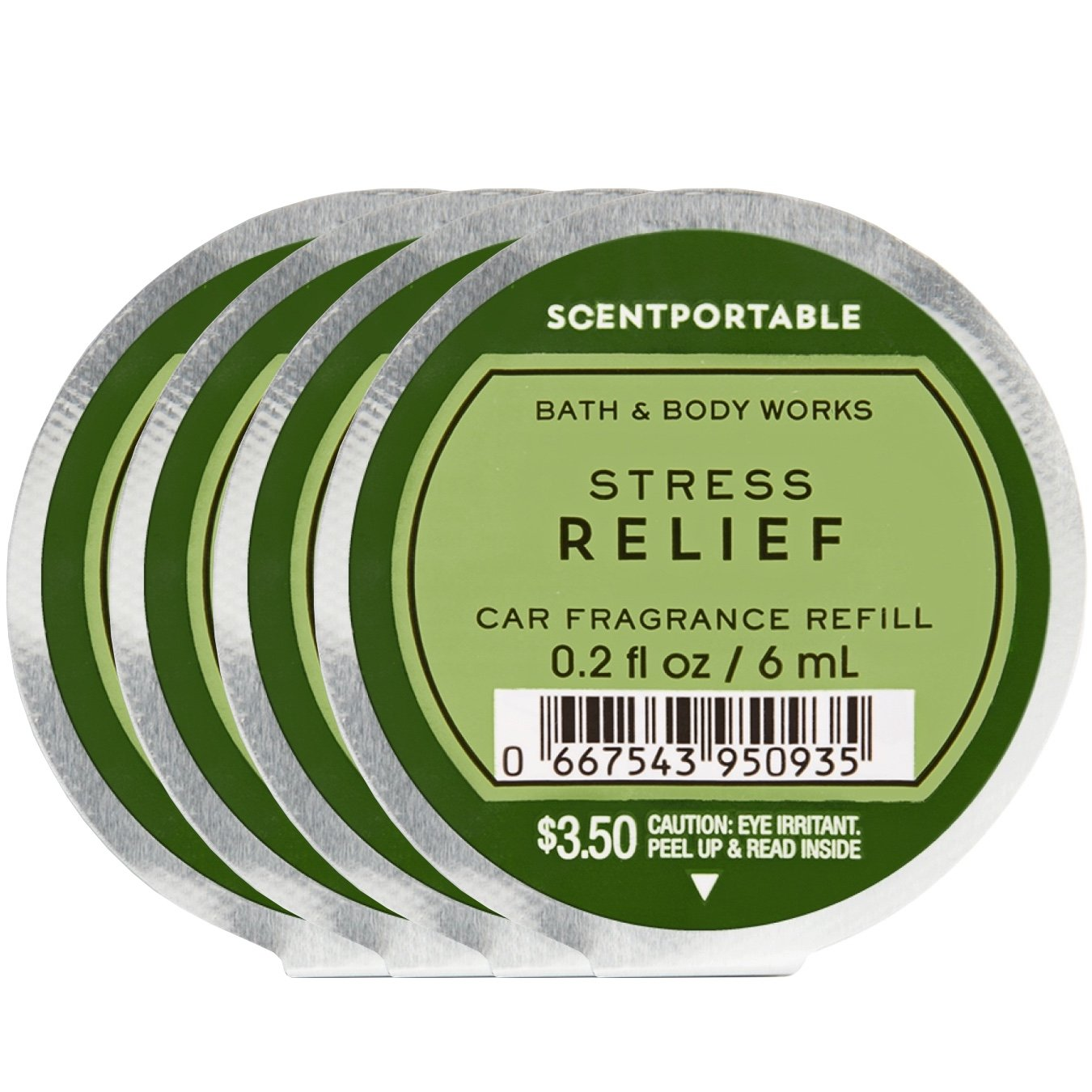 Bath and Body Works 4 Pack Scentportable Fragrance Refill Stress Relief Eucalyptus Spearmint. 0.2 Oz each.