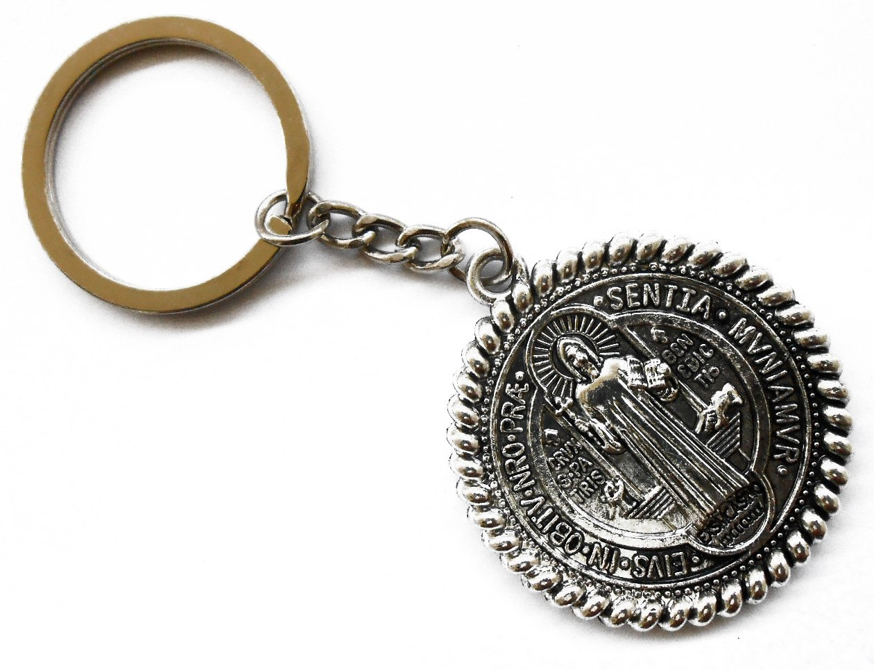 9e08e458 United in Love: Holy Land Jerusalem Saint Benedict Religious Medal Metal  Key Chain. Item# GKCIT-042: Amazon.in: Home & Kitchen