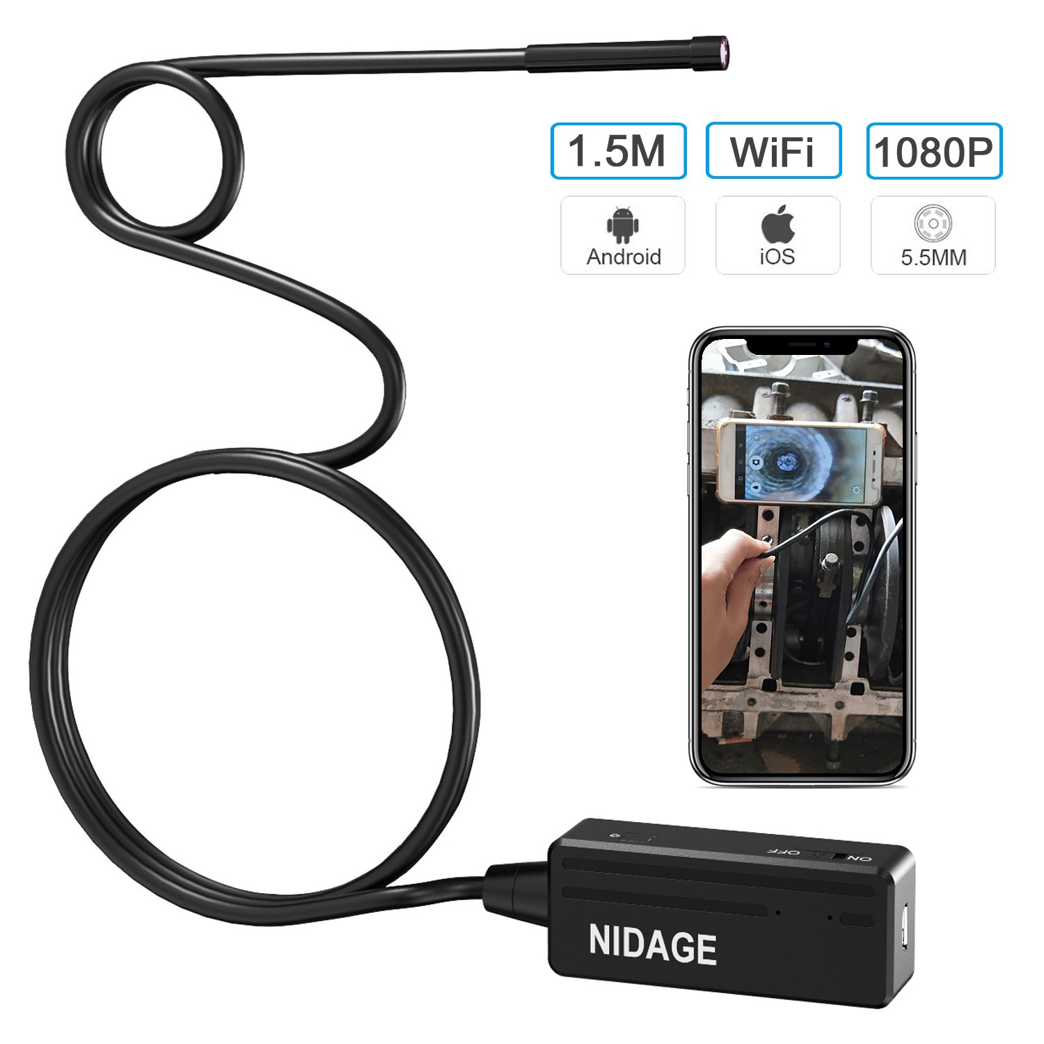 NIDAGE Wireless Endoscope for Automotive Inspection Semi-rigid Flexible Waterproof 5.5MM WiFi Borescope Camera for Android and iOS Smartphones, iPhone, iPad (1.5M/4.92ft)