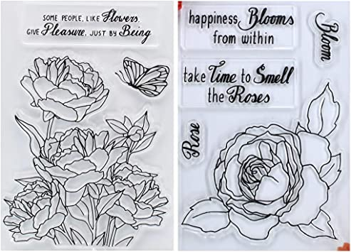 KWELLAM Flowers Rose Lily Poppy Tulip Clear Stamps for Card Making Decoration and DIY Scrapbooking