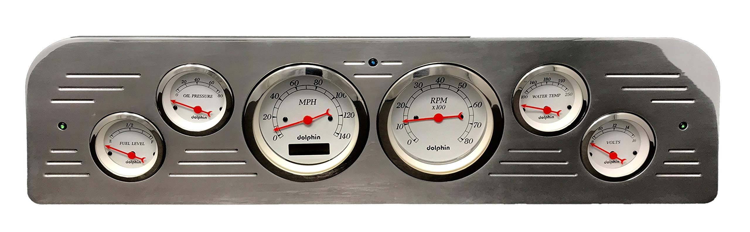 Dolphin Gauges 1961 GMC Truck 6 Gauge Dash Cluster Panel Set Programmable White