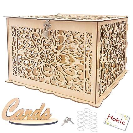 Hokic Diy Wedding Card Box With Lock Large Rustic Wood Wedding Gift Box Money Box For Rustic Wedding Bridal Baby Shower Birthday Rainforest Theme