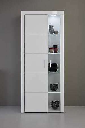 trendteam smart living Wohnzimmer Vitrine Schrank Wohnzimmerschrank Kito,  81 x 200 x 34 cm in Korpus Weiß, Front Weiß Glanz inklusive Beleuchtung