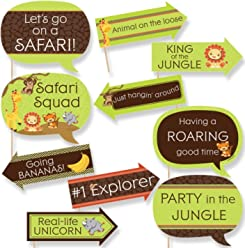 Funny Funfari - Fun Safari Jungle - Baby Shower or Birthday Party Photo Booth Props Kit - 10 Piece
