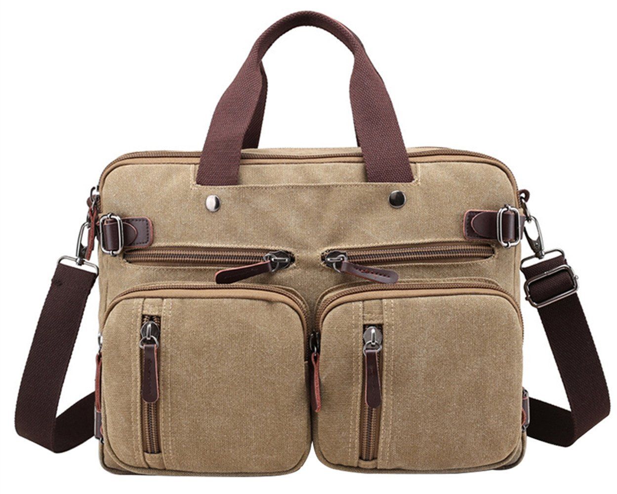 PB-SOAR 4-in-1 Herren Damen Vintage Canvas Multifunktionale Aktentasche Arbeitstasche Rucksack Umhängetasche Messenger Bag Laptoptasche Wickeltasche Vielseitige Tasche (Braun)