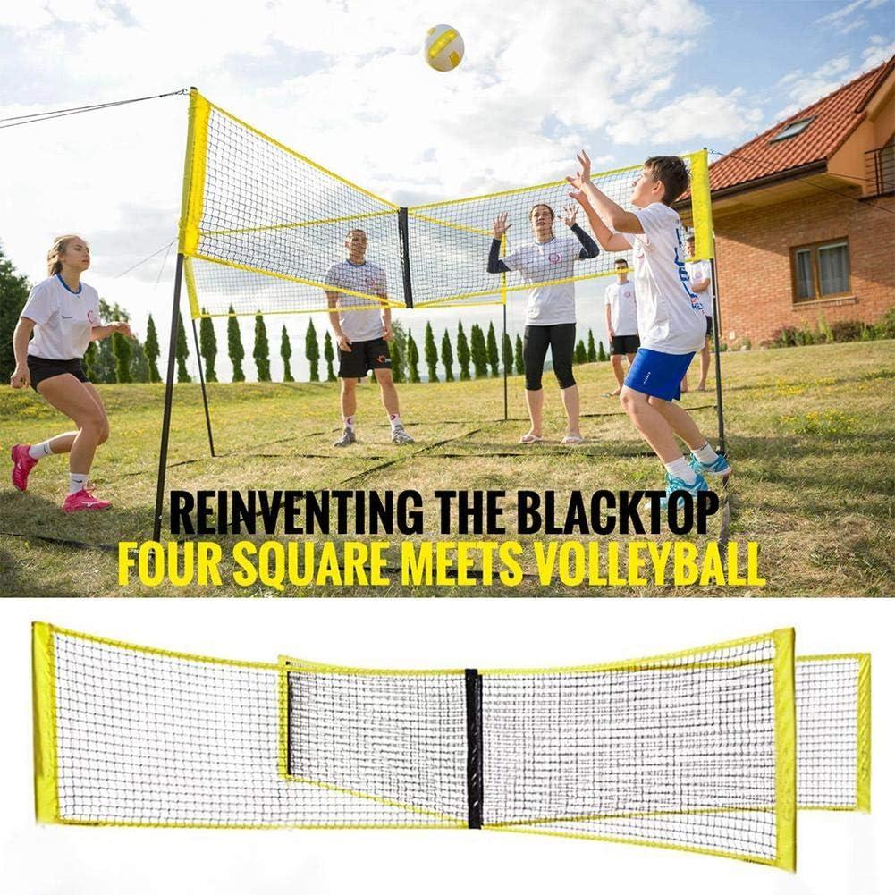 rebirthesame Filet de Volley-Ball crois/é /à Quatre c/ôt/és Mat/ériau en PE Filet de Volley-Ball int/érieur ext/érieur Filet de Volleyball de Plage Standard (sans Tige)