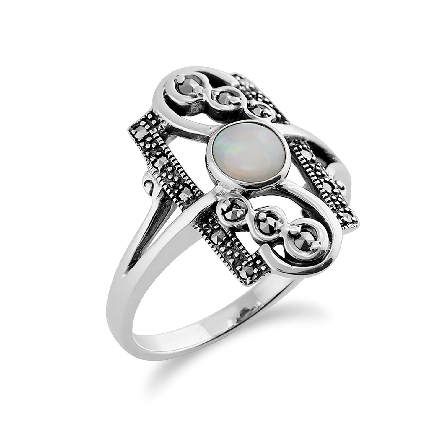 Gemondo 925 Sterling Silver 0.28ct Opal Cabochon & 0.15ct Marcasite Classic Art Nouveau Style Ring 6bv1nnn