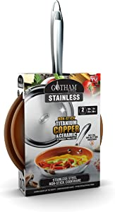 Gotham Steel Stainless Steel Premium 2 Piece Frying Pan Set, Triple Ply Reinforced with Super Nonstick Ti- Cerama Copper Coating and Induction Capable Encapsulated Bottom – Dishwasher Safe