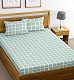 Ahmedabad Cotton 144 TC Cotton Double Bedsheet with 2 Pillow Covers - Turquoise