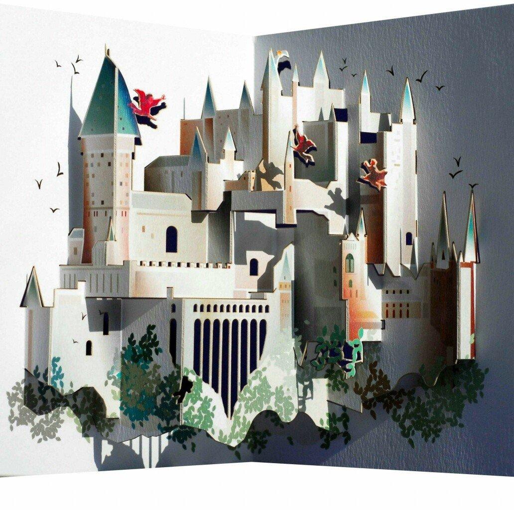 Forever - Biglietto popup, motivo: Hogwarts, tagliato al laser Forever Handmade Cards