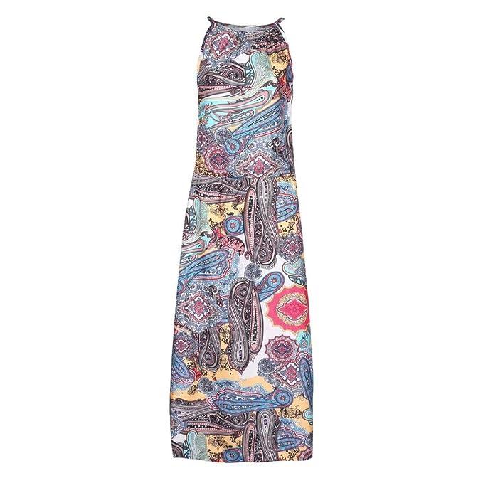 aae62731e12797 YULAND Kleider Sommer Damen Sommerkleid Damen Lang Knielang Kleid Damen  Sommer Kleider Sommer Vintage Boho Lange Maxi Abend Party Beach  Blumenkleid  ...