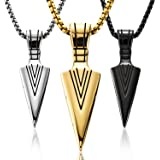 3 Pieces Stainless Steel Arrowhead Pendant Chain Necklace Spearpoint Necklace