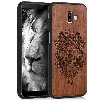 kwmobile Funda de Madera Madera de sapeli para Samsung Galaxy J6+ / J6 Plus DUOS - Case Bumper de TPU diseño con Lobo - Cover Protector Duro en ...