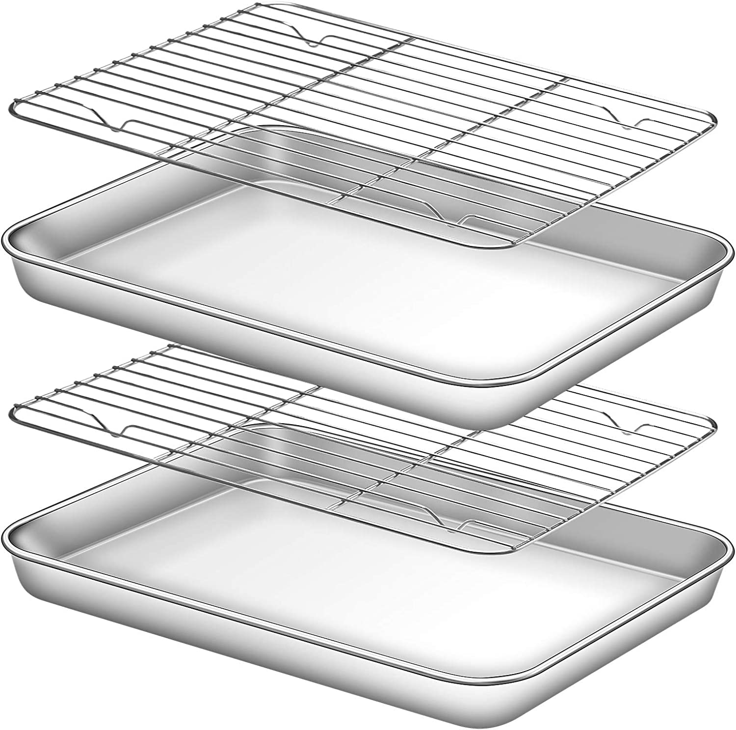 Deedro Baking Sheet with Rack Set [2 Sheets + 2 Racks], Stainless Steel Cookie Half Sheets Baking Pan Oven Tray with Cooling Rack, 10 x 8 x 1 Inch, Heavy Duty, Non-toxic, Easy Clean