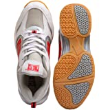 Firefly Men's Performer Indoor Badminton White Shoes with Non Marking Sole Made from P.U Material