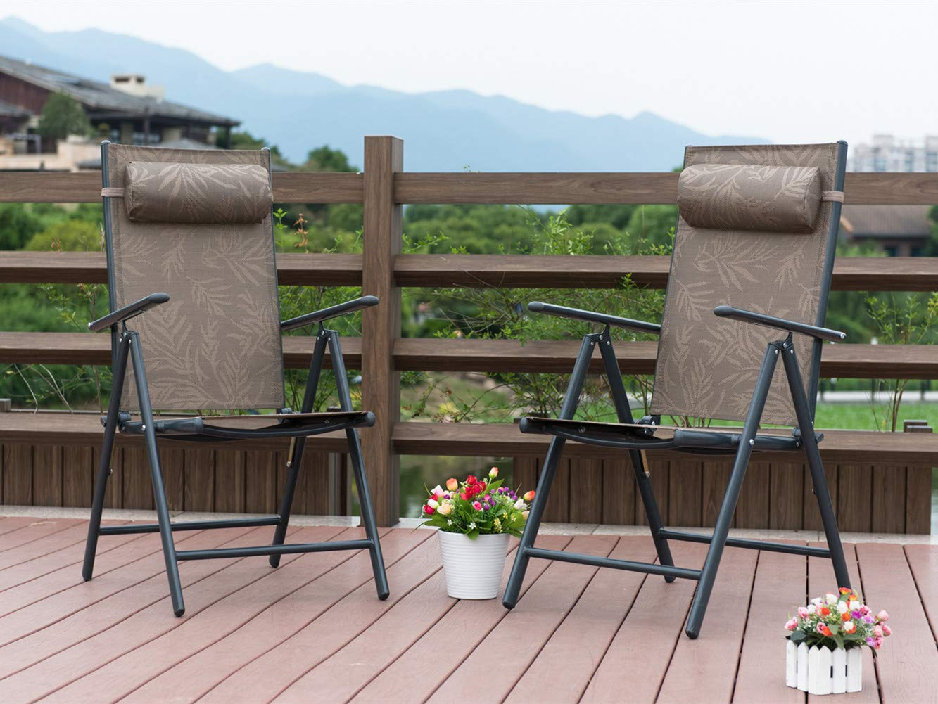 PatioPost Outdoor Adjustable Folding Recliner Aluminum Patio Sling Chairs with 7 Stalls, Set of 2 - Jacquard by PatioPost (Image #2)
