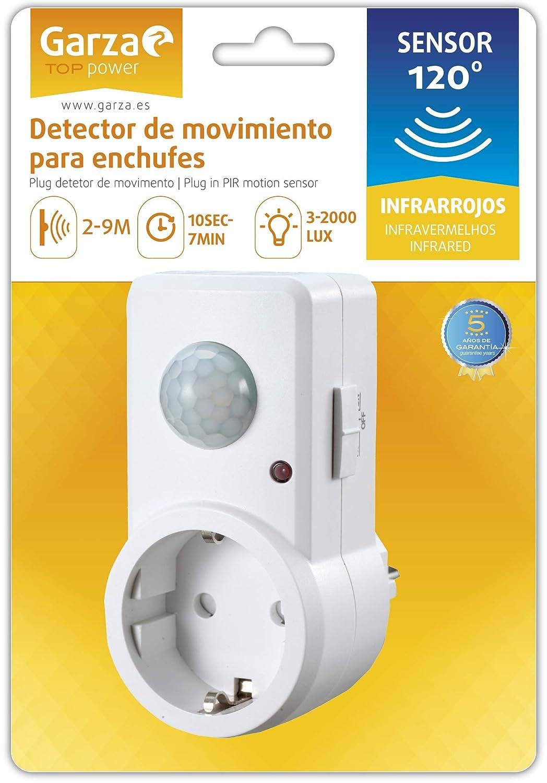 Garza Power - Detector de Movimiento Infrarrojos para Enchufes, Ángulo de Detección 120º, color Blanco: Amazon.es: Bricolaje y herramientas