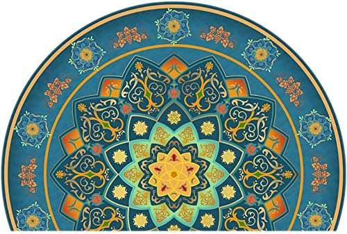 Persian Style Traditional Doormat,Large Semicircle Oriental Floral Retro European Bedroom Entrance Bedside Front Door Welcome Carpet D 100150cm 3959inch