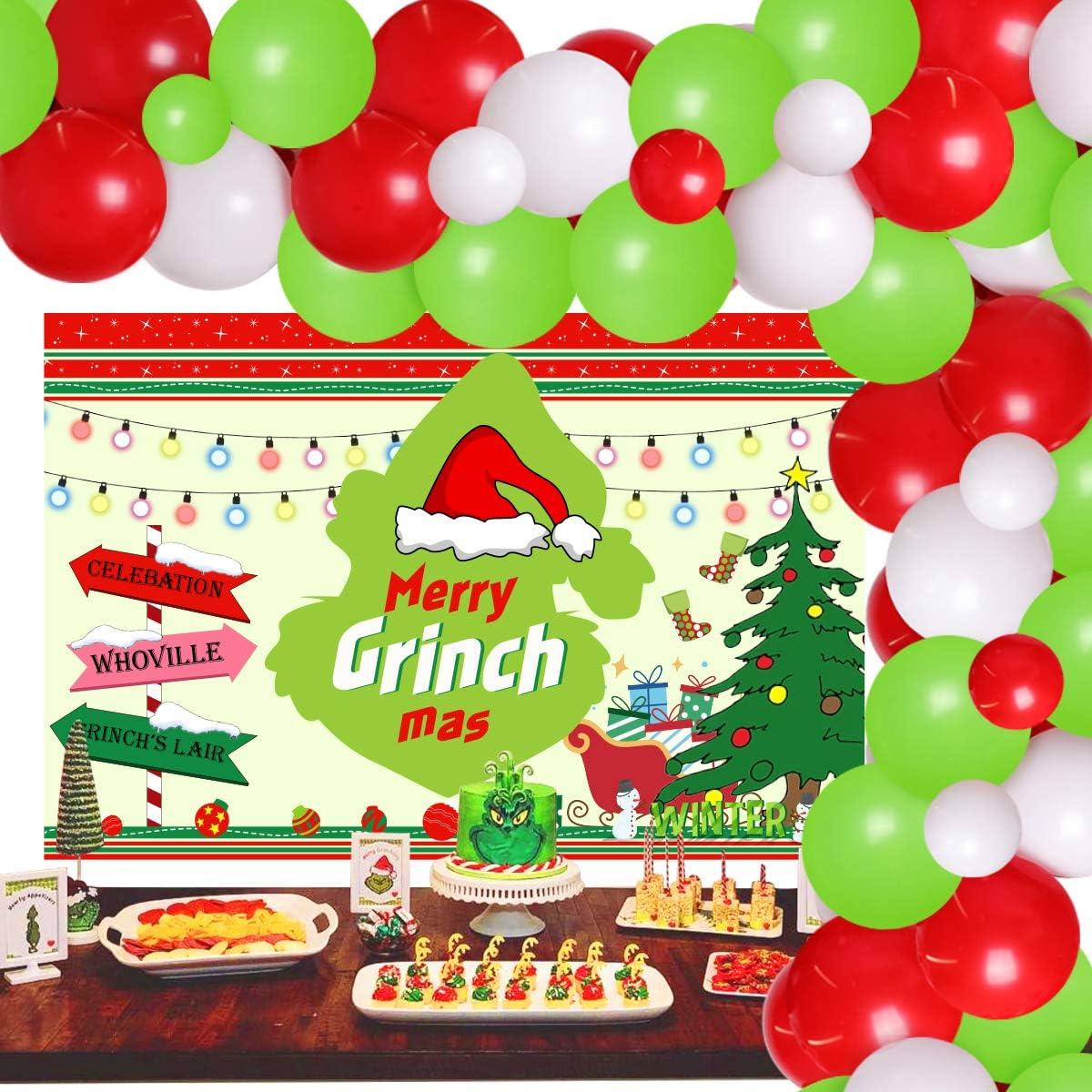 Jollyboom Merry Grinchmas Backdrop Balloon Garland Arch Kit Grinch Theme Christmas Decorations for Merry Christmas Xmas Party Supplies Merry Grinchmas Decor