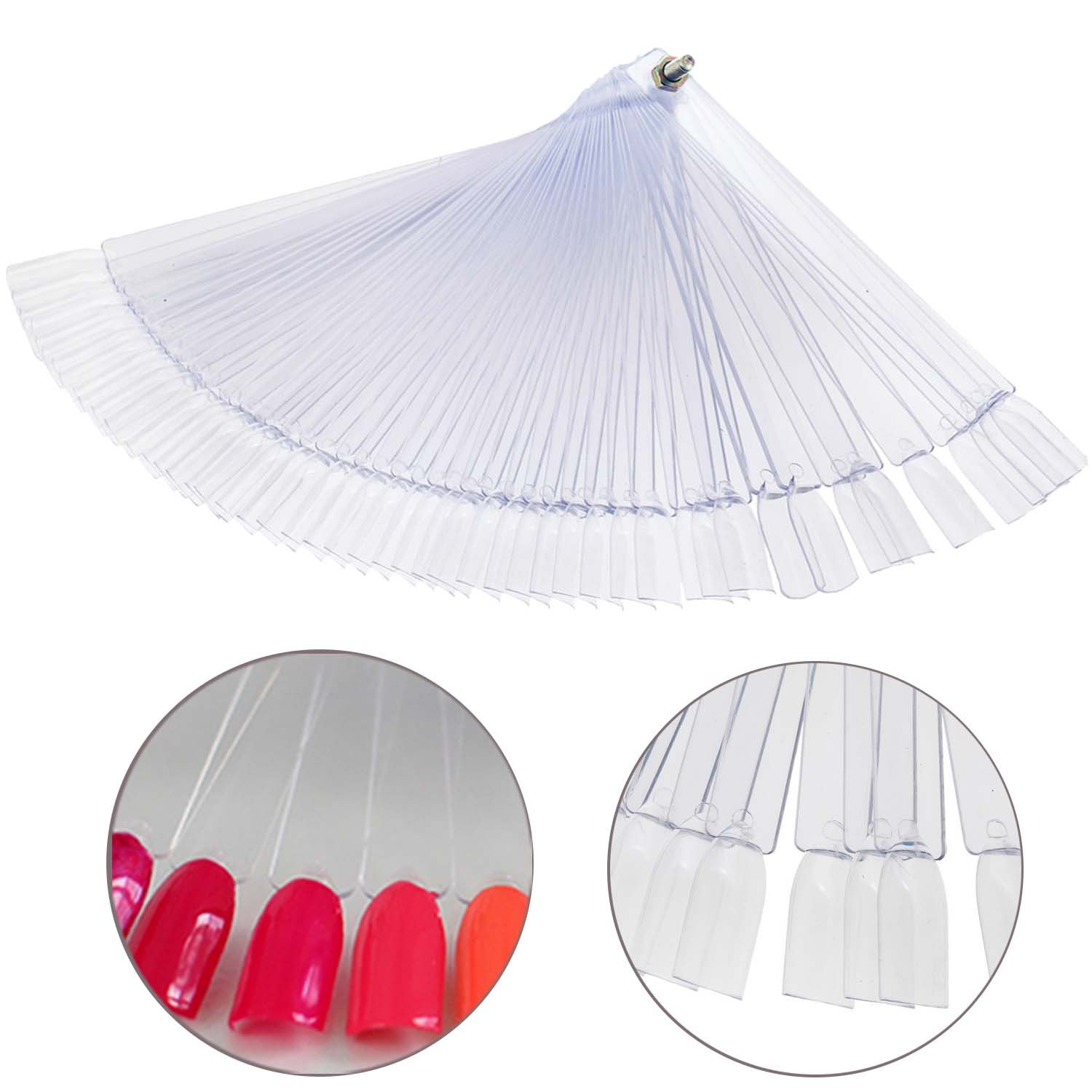 Fan With 50 High Quality Clear Transparent False Nails / Nail Art Tips For Designs Display And Practice By VAGA
