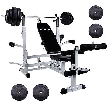 cclife multifunción estación de halteras con pesas 60 kg Set – Banco de entrenamiento Fuerza Station