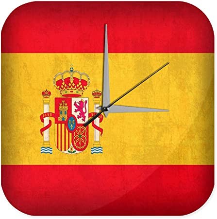 Reloj De Pared Aventurero Decoración bandera de España Plexiglas: Amazon.es: Hogar