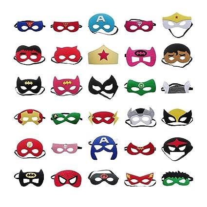 Amazon.com: 30 máscaras de superhéroe para niños, Halloween ...