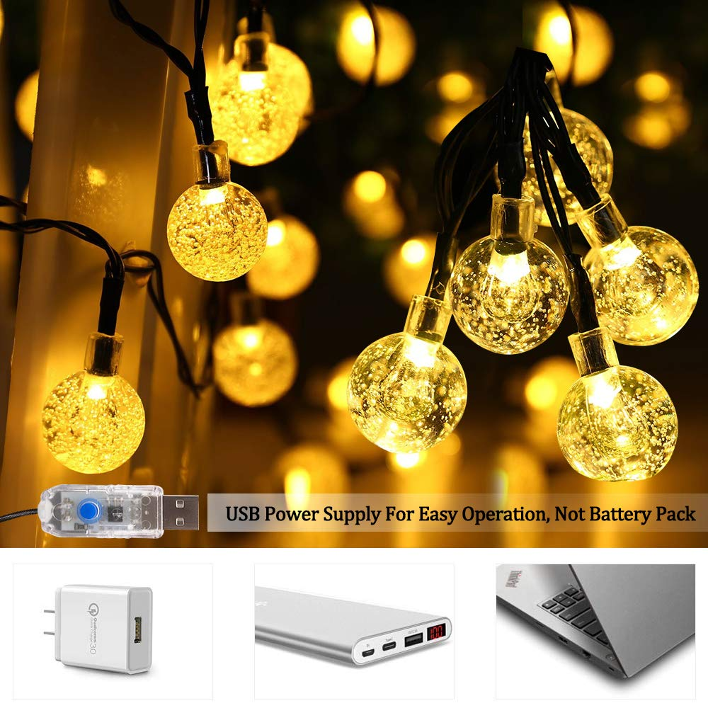 Portico Albero Multi-color Catena Luminosa SPECOOL 50 LED USB Ghirlanda 7m Luce Stringa di Crystal Globe Telecomando Fata esterno per Natale Giardino Matrimonio