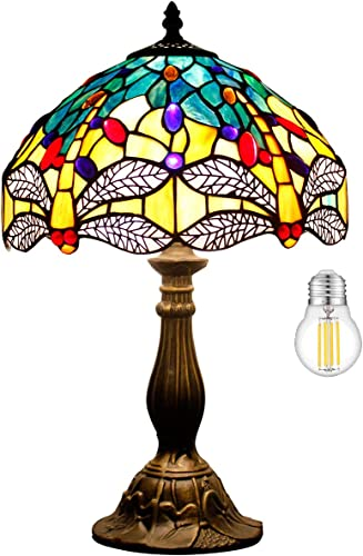 Tiffany Lamp LED Bulb Included Sea Blue Yellow Stained Glass Crystal Bead Dragonfly Style Antique Table Reading Night Light W12H18 Inch S128 WERFACTORY Lamps Kids Living Room Desk Bedside Bedroom