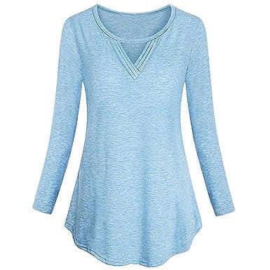 Blusa con Cuello en v de Las Mujeres, Blusa sin Mangas Abotonada Larga básica básica del Color sólido de Las Mujeres Remata la Blusa ❤ Absolute: ...